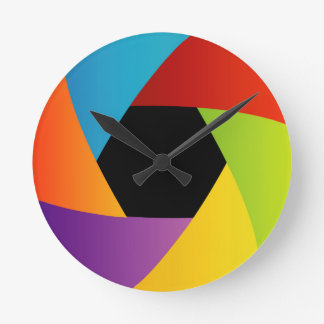 Colorful Shutter aperture background Round Clock