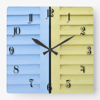 Colorful shutters square wall clock