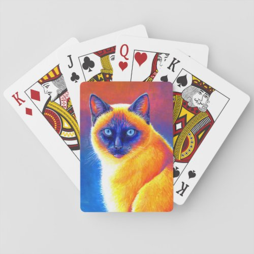Colorful Siamese Cat Playing Cards