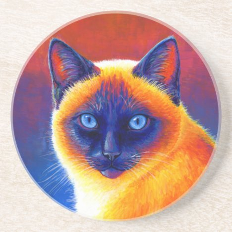 Colorful Siamese Cat Round Stone Coaster