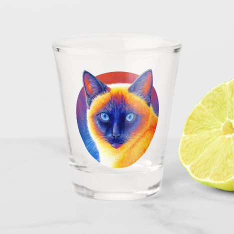 Colorful Siamese Cat Shot Glass
