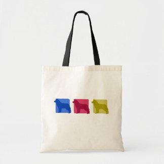 Colorful Siberian Husky Silhouettes Budget Tote Bag