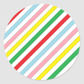 Colorful Sideway Lines Classic Round Sticker