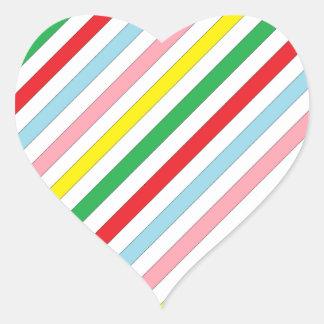 Colorful Sideway Lines Heart Sticker