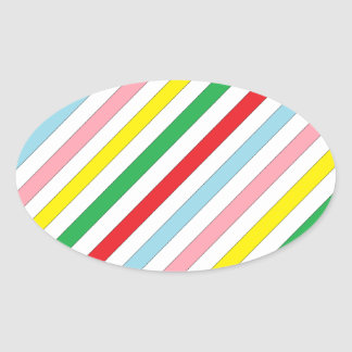Colorful Sideway Lines Oval Sticker