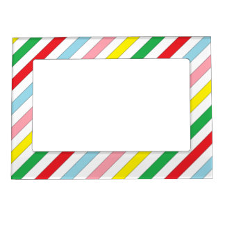 colorful sideway lines postage stamps magnetic picture frame