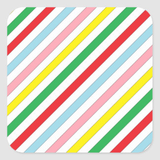 Colorful Sideway Lines Square Sticker