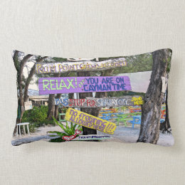 COLORFUL SIGNS AT RUM POINT, GR.CAYMAN LUMBAR PILLOW