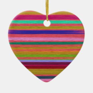 Colorful Silk Stripes Textile Art Design Ceramic Ornament