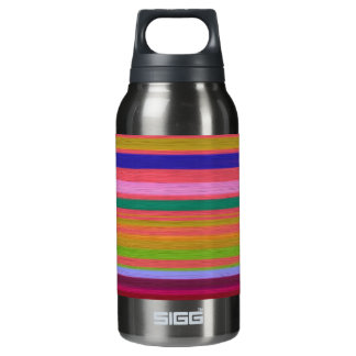 Colorful Silk Stripes Textile Art Design Insulated Water Bottle