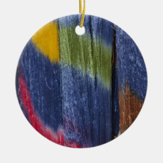 Colorful silk threads, Mandalay, Myanmar Double-Sided Ceramic Round Christmas Ornament
