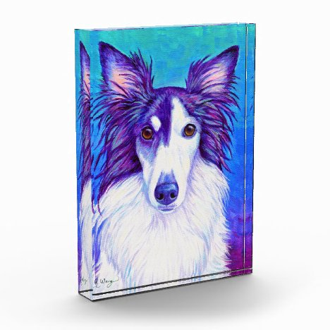 Colorful Silken Windhound Dog Acrylic Block