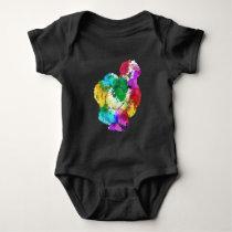 Colorful Silkie Chicken Fan Animal Art Baby Bodysuit