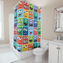 Colorful Silly Monster Face Monsters Pattern Kids Shower Curtain