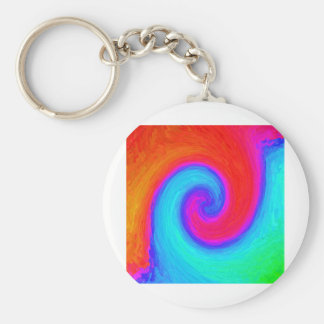 Colorful simbol of balance, red and blue keychain