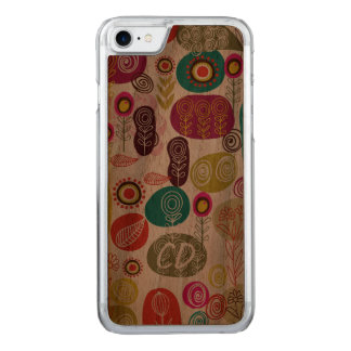 Colorful Simple Hand Drawn Cute Flowers Pattern Carved iPhone 7 Case