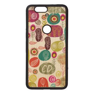 Colorful Simple Hand Drawn Cute Flowers Pattern Wood Nexus 6P Case