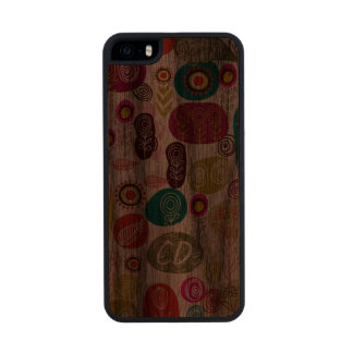 Colorful Simple Hand Drawn Cute Flowers Pattern Wood Phone Case For iPhone SE/5/5s