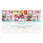 Colorful Simple Hand Drawn Retro Flowers-Monograme Business Card Template