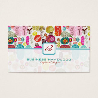 Colorful Simple Hand Drawn Retro Flowers-Monograme Business Card
