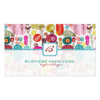 Colorful Simple Hand Drawn Retro Flowers-Monograme Double-Sided Standard Business Cards (Pack Of 100)