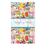 Colorful Simple Hand Drawn Retro Flowers Pattern 3 Business Cards