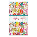 Colorful Simple Hand Drawn Retro Flowers Pattern 3 Business Card Template