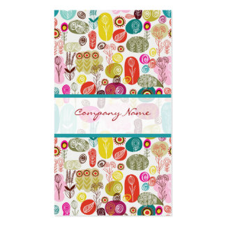 Colorful Simple Hand Drawn Retro Flowers Pattern 3 Double-Sided Standard Business Cards (Pack Of 100)