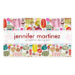 Colorful Simple Hand Drawn Retro Flowers Pattern 4 Business Cards