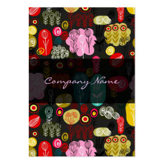 Colorful Simple Hand Drawn Retro Flowers Pattern 4 Large Business Card