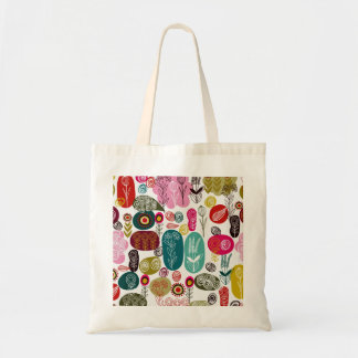 Colorful Simple Hand Drawn Retro Flowers Pattern Budget Tote Bag
