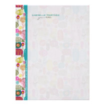 Colorful Simple Hand Drawn Retro Flowers Pattern Letterhead