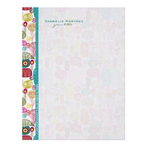 Colorful Simple Hand Drawn Retro Flowers Pattern Letterhead