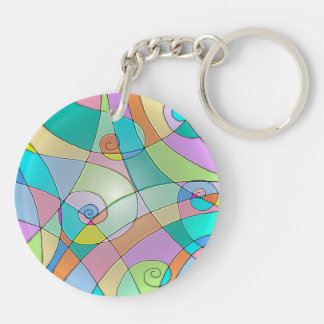 Colorful Simulated Stained Glass in Pastels Keychain