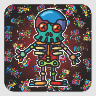 colorful skeleton2 square sticker