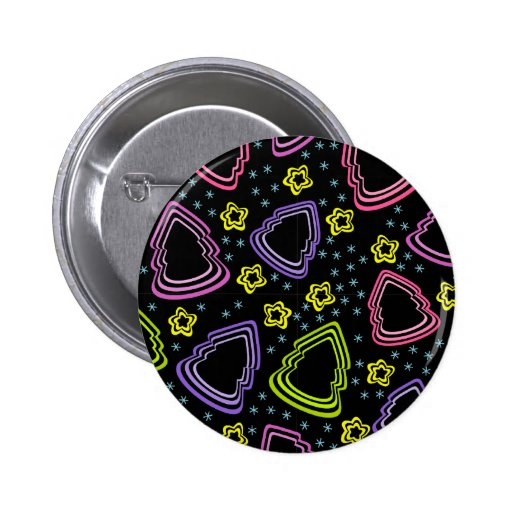 Colorful Sketchy Christmas Trees Button