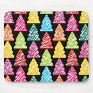 Colorful Sketchy Christmas Trees Mousepad