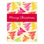 Colorful Sketchy Christmas Trees Postcard