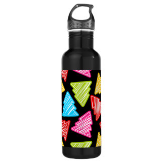 Colorful Sketchy Christmas Trees Stainless Steel Water Bottle