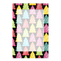 Colorful Sketchy Christmas Trees Stationery
