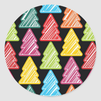 Colorful Sketchy Christmas Trees Sticker