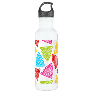 Colorful Sketchy Christmas Trees Water Bottle