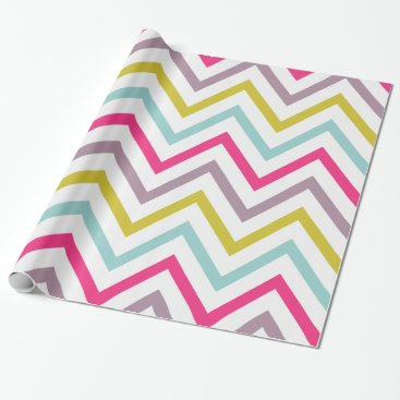 Christmas Themed Colorful Skinny Chevron Pattern Wrapping Paper