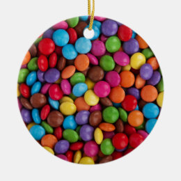 Colorful skittles candy ceramic ornament