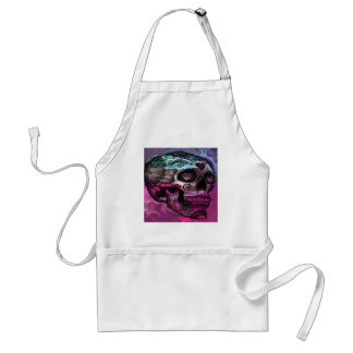 colorful skull, abstract graphic apron