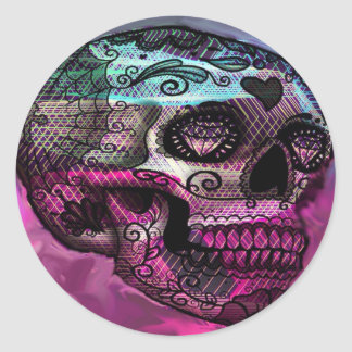 colorful skull, abstract graphic classic round sticker