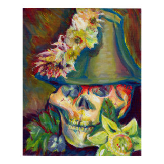 Colorful Skull Acrylic Painting Poster