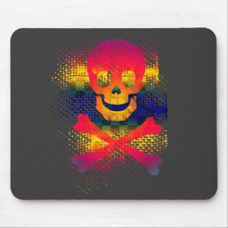 colorful skull and crossbones mouse pad