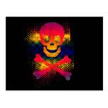 colorful skull and crossbones postcard