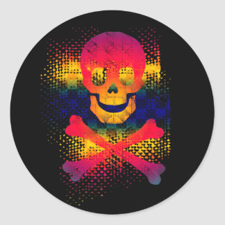 colorful skull and crossbones classic round sticker